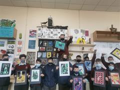 2nd Year Art Students - Lino Prints
